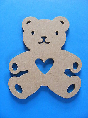 Five Wooden Teddy Bear Bunting Gift Tags Shape Shapes Fab